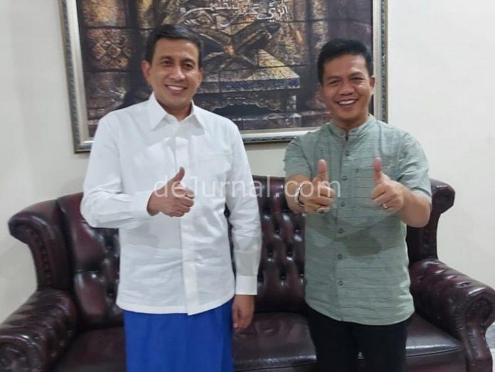Bupati Bandung terpilih HM Dadang Supriatna bersilaturahmi dengan Kapolda Jawa Barat Irjen Pol Drs Ahmad Dofiri, M.Si, di Rumah Dinas Kapolda Jabar, Jalan Bungur, Kota Bandung, Jumat (23/4/2021) malam