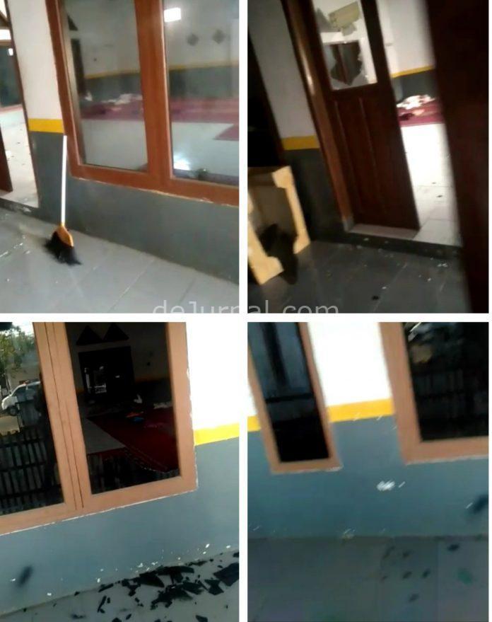Kolase tangkapan layar video rusaknya masjid.