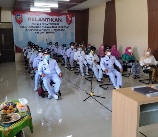Momen pelantikan para kepala desa se Kecamatan Karangpawitan yang dilaksanakan serentak secara virtual, Rabu (28/7/2021).